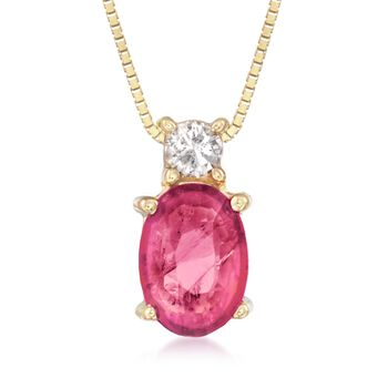 "1.00 Carat Ruby Pendant Necklace With Diamond Accent in 14kt Yellow Gold. 16"", , default"