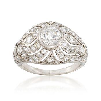 C. 1950 Vintage 1.65 ct. t.w. Diamond Dome Ring in Platinum. Size 5.5, , default