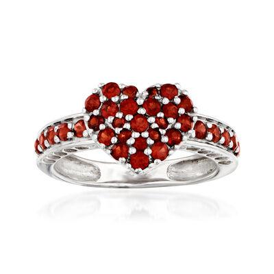 1.00 ct. t.w. Garnet Heart Ring in Sterling Silver