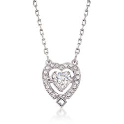"Swarovski Crystal ""Sparkling Dance"" Floating Crystal Heart Necklace in Silvertone. 14.75"", , default"