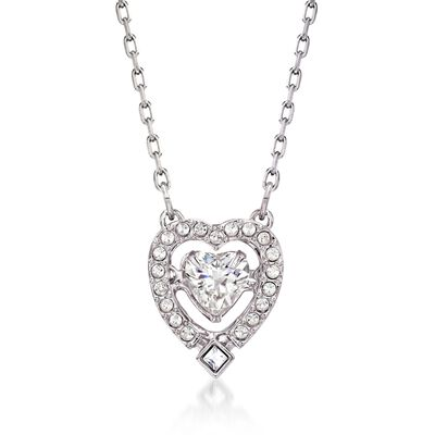 "Swarovski Crystal ""Sparkling Dance"" Floating Crystal Heart Necklace in Silvertone, , default"