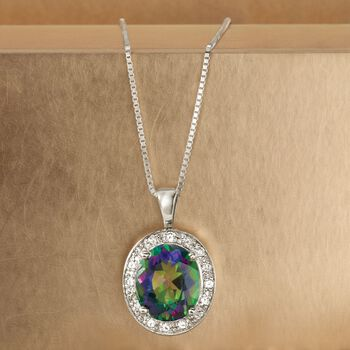 5.50 Carat Oval Mystic Topaz and .33 ct. t.w. Diamond Pendant in 14kt White Gold , , default
