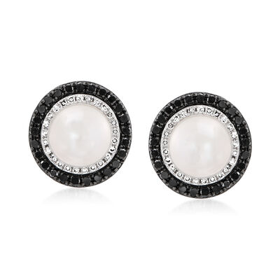 7mm Cultured Pearl .50 ct. t.w. Black and White Diamond Earrings in 14kt White Gold, , default