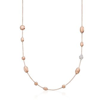 """Roberto Coin 18kt Rose Gold Pebble Station Necklace With Diamond Accents. 16"""", , default"""