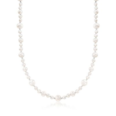 5-9mm Cultured Pearl and Glass Bead Necklace with Sterling Silver, , default