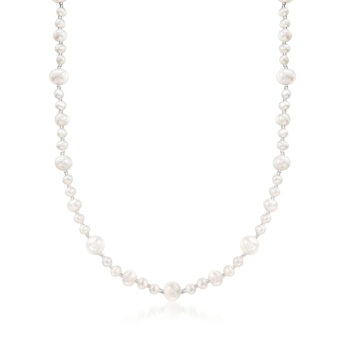 "5-9mm Cultured Pearl and Glass Bead Necklace with Sterling Silver. 18"", , default"