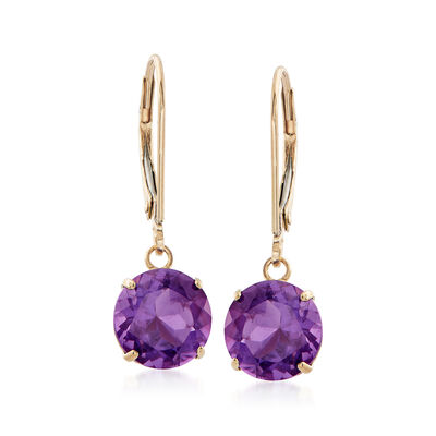 3.20 ct. t.w. Amethyst Drop Earrings in 14kt Yellow Gold