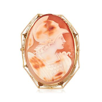 C. 1950 Vintage Shell Cameo Centurion Pin Pendant in 14kt Yellow Gold, , default