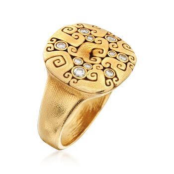 C. 2000 Vintage Alex Sepkus .13 ct. t.w. Diamond Swirl Ring in 18kt Yellow Gold. Size 5.5