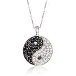 "1.68 ct. t.w. White Zircon and .84 ct. t.w. Black Spinel Yin-Yang Pendant Necklace in Sterling Silver. 18"", , default"