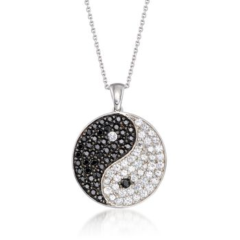"""1.68 ct. t.w. White Zircon and .84 ct. t.w. Black Spinel Yin-Yang Pendant Necklace in Sterling Silver. 18"""", , default"""