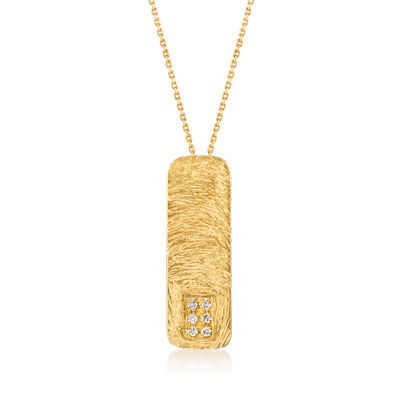Diamond-Accented Vertical Bar Necklace in 18kt Gold Over Sterling