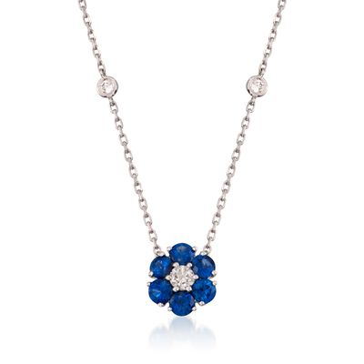1.15 ct. t.w. Sapphire and .45 ct. t.w. Diamond Floral Station Necklace in 14kt White Gold, , default