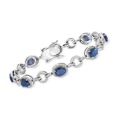 16.00 ct. t.w. Blue Corundum and .21 ct. t.w. Diamond Bracelet in Sterling Silver