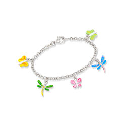 Child's Enamel Butterfly and Dragonfly Charm Bracelet in Sterling Silver, , default