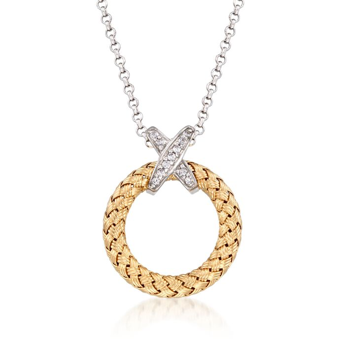 """Charles Garnier """"Calixta"""" .10 ct. t.w. CZ Open Circle Pendant Necklace in Two-Tone Sterling Silver"""