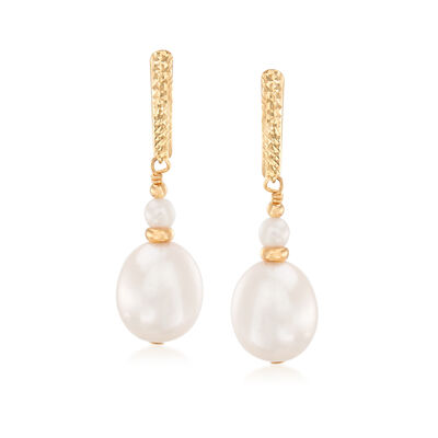 3-10mm Cultured Pearl Drop Earrings in 14kt Yellow Gold, , default
