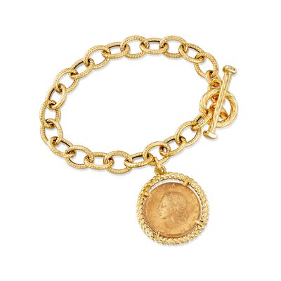 Italian 18kt Gold Over Sterling Replica Lira Coin and Oval Link Toggle Bracelet