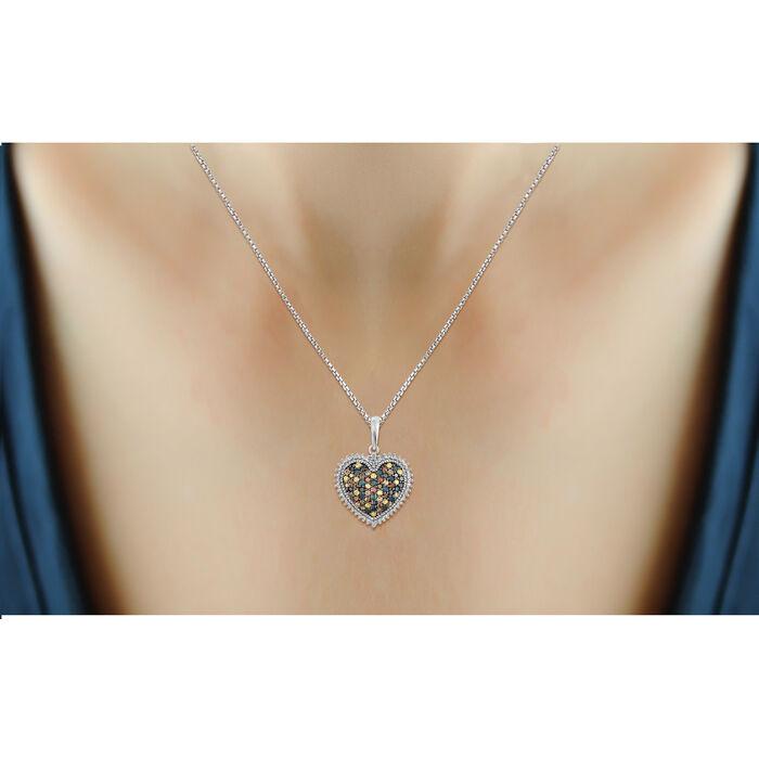 1.00 ct. t.w. Multicolored Diamond Heart Pendant Necklace in Sterling Silver