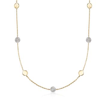 .19 ct. t.w. Pave Diamond Disc Station Necklace in 14kt Yellow Gold, , default
