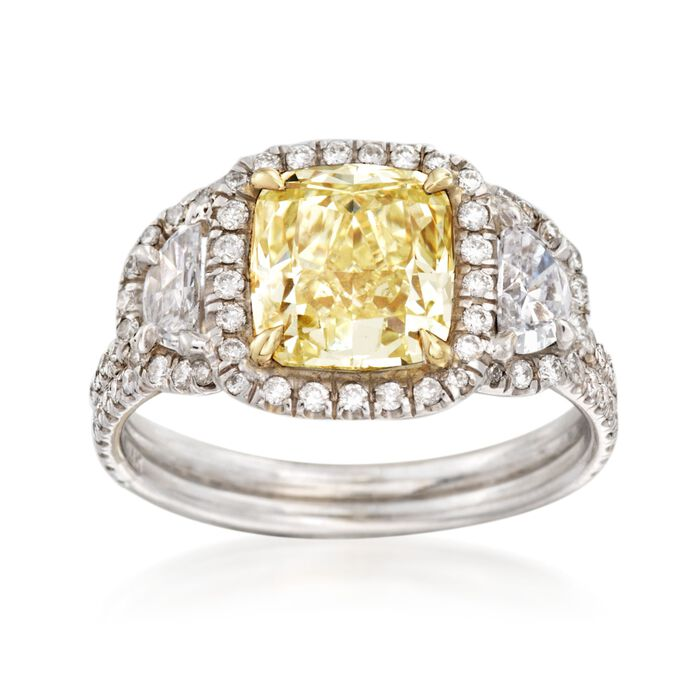 Majestic Collection 2.75 ct. t.w. Yellow and White Diamond Ring in 18kt White Gold