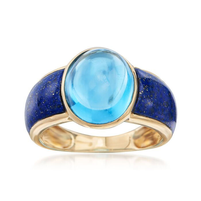7.75 Carat Blue Topaz and Lapis Ring in 14kt Yellow Gold