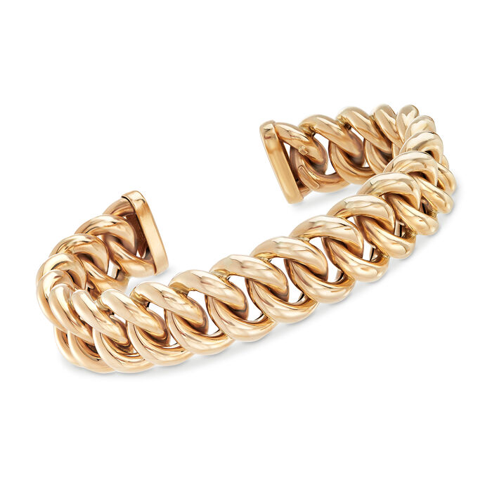 """Italian Link Cuff Bracelet in 14kt Yellow Gold. 7"""", , default"""