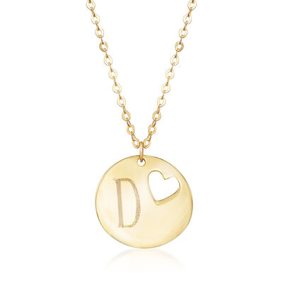 Italian Personalized Cut-Out Heart Disc Necklace in 14kt Yellow Gold, , default