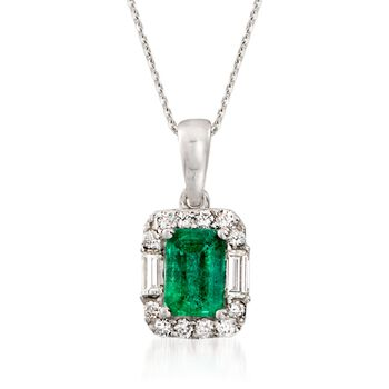 "1.00 Carat Emerald and .35 ct. t.w. Diamond Pendant Necklace in 14kt White Gold. 16"", , default"