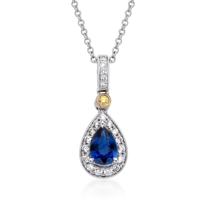 "Simon G. .53 Carat Sapphire and .16 ct. t.w. Diamond Pendant Necklace in 18kt Two-Tone Gold. 17"", , default"