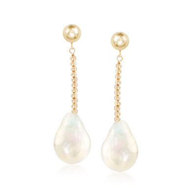 Cultured Pearl Drop Earrings in 14kt Yellow Gold, , default