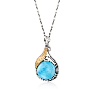 Larimar Pendant Necklace in Sterling Silver and 14kt Yellow Gold
