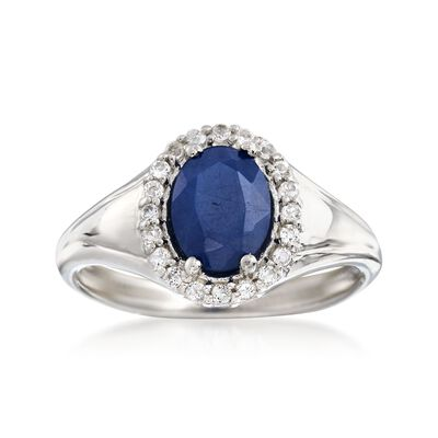 1.50 Carat Sapphire and .30 ct. t.w. White Topaz Ring in Sterling Silver, , default