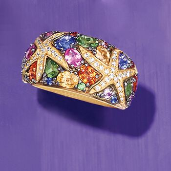 3.50 ct. t.w. Multicolored Sapphire and .24 ct. t.w. Diamond Starfish Ring in 14kt Gold, , default