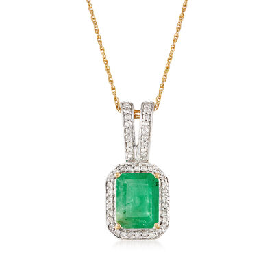 2.10 Carat Emerald and .24 ct. t.w. Diamond Pendant Necklace in 14kt Yellow Gold, , default