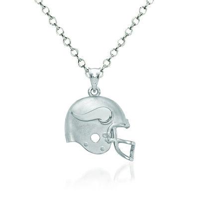 "Sterling Silver Minnesota Vikings Football Helmet Logo Pendant Necklace. 18"", , default"