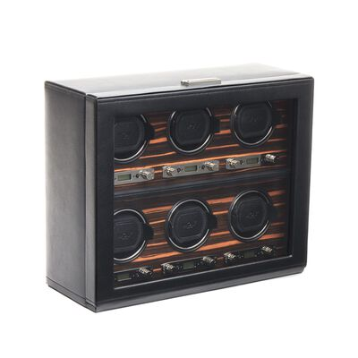 """Roadster"" Black and Ebony Macassar Six-Module Watch Winder by Wolf Designs, , default"