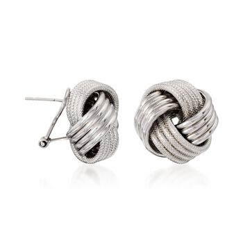 Sterling Silver Textured and Polished Love Knot Earrings, , default
