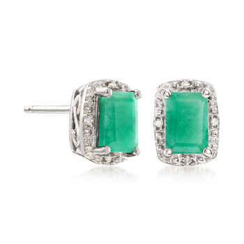 1.10 ct. t.w. Emerald Stud Earrings with Diamond Accents in Sterling Silver, , default