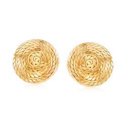 Italian 18kt Gold Over Sterling Silver Roped Swirl Earrings, , default
