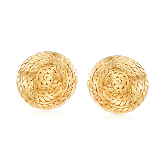 Italian 18kt Gold Over Sterling Silver Roped Swirl Earrings, , default