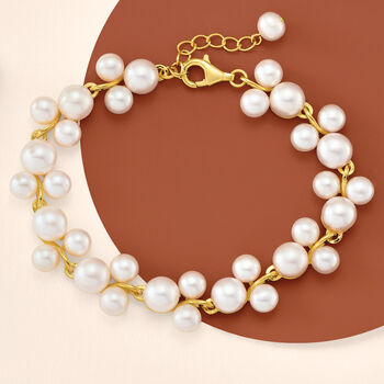 5-7.5mm Cultured Pearl Trio Bracelet in 18kt Gold Over Sterling Silver. 7""
