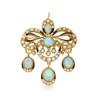 C. 1950 Vintage Opal and 1.55 ct. t.w. Diamond Pin/Pendant in 14kt Yellow Gold