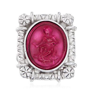 Italian Pink Venetian Glass Angel Ring in Sterling Silver