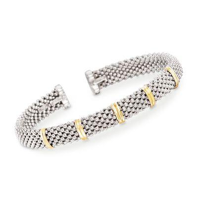 """Phillip Gavriel """"Popcorn"""" Sterling Silver and 18kt Gold Cuff Bracelet, , default"""