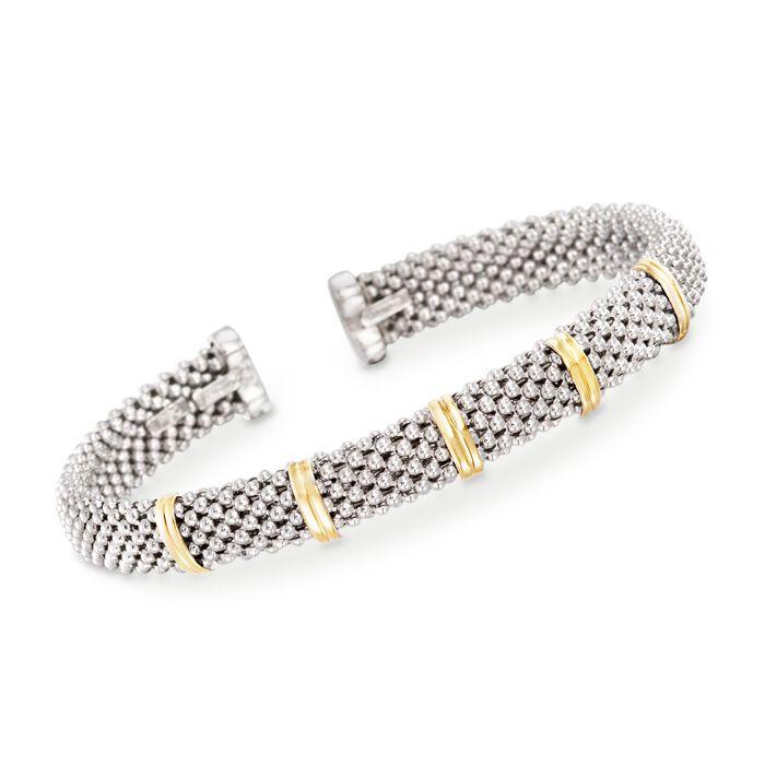 """Phillip Gavriel """"Popcorn"""" Sterling Silver and 18kt Gold Cuff Bracelet. 7"""", , default"""