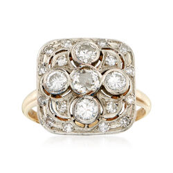 C. 1950 Vintage 1.50 ct. t.w. Diamond Cluster Ring in 14kt Two-Tone Gold , , default
