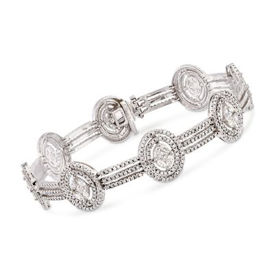 4.98 ct. t.w. Diamond Oval Cluster Bracelet in 14kt White Gold, , default