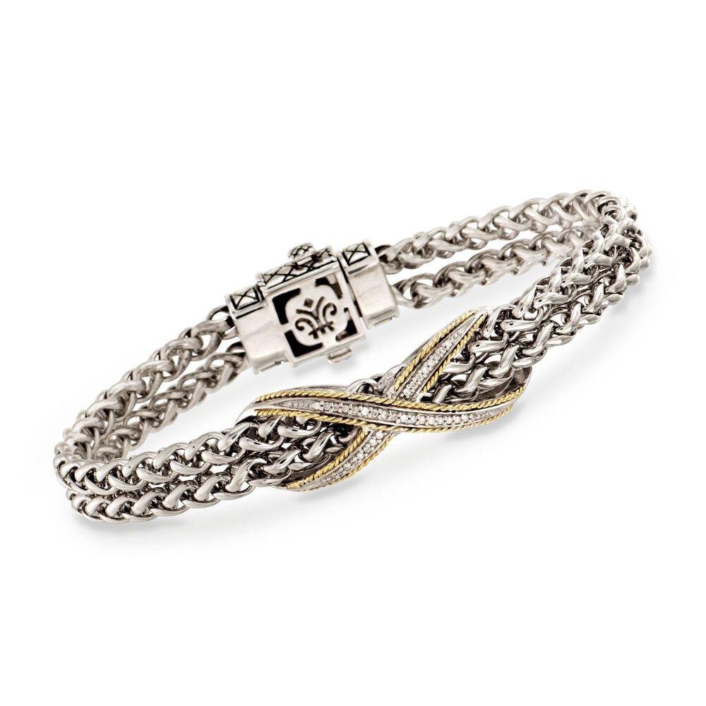 Andrea Candela 10 Ct T W Diamond Bangle Bracelet In Two Tone 7 Quot