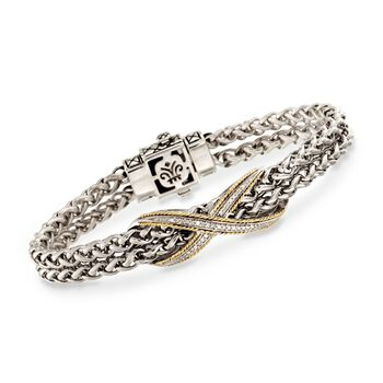 "Andrea Candela .10 ct. t.w. Diamond Bangle Bracelet in Two-Tone. 7"", , default"